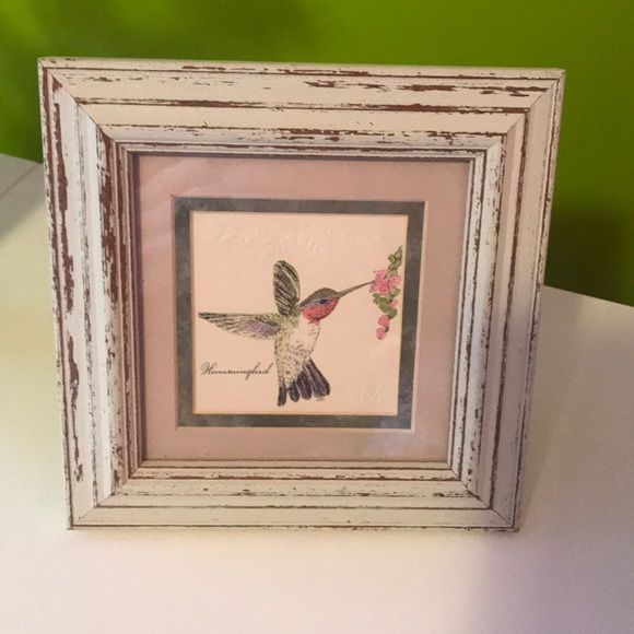 Hummingbird embossed art 7 x 7